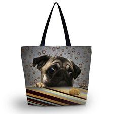 Cute Pug Portable Shopping Tote Bag Shoulder Bag Handbag School Sport Beach Bag