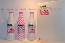 ** RARE ** 2011 KARL LAGERFELD Diet Coke Limited Edition 3 bouteilles [Boxed Set]