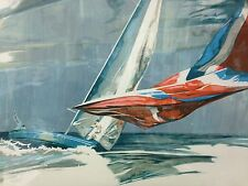 "Nautical Lithograph , Willard Bond , ""Blow Out"""