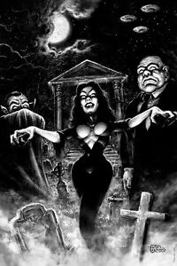 PLAN 9 from Outer Space VAMPIRA movie Art Print Poster by Scott Jackson
