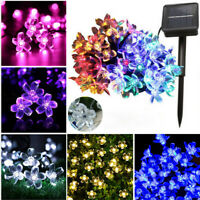 7M 50LED Solar Powered Fairy String Flower Light Outdoor Garden Wedding Party US