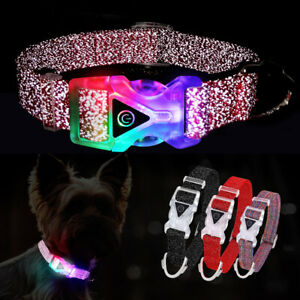 Light Up Dog Collar Illuminated Pet Collars Glow in The Dark Safety Night Nylon