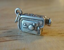 1 Sterling Silver 3D 8x14x6mm Solid Video Camera Camcorder Charm