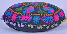 "Handmade Round Cushion Covers Pair Suzani Embroidered Cotton Pillowcases 16"" New"
