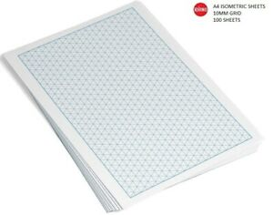 RHINO A4 Isometric Graph Paper 100 Sheets Leaf 10mm Grid Drawing Triangles Plot