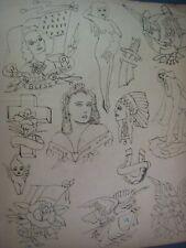 Vintage C. 1940 ' God Bless + ' ..Hand-Drawn Tattoo Flash,...  14'' x 12 '' in.