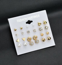 12 Pairs/Set Lots Shape Gold Silver Earrings New Pearl Rhinestone Ear Stud