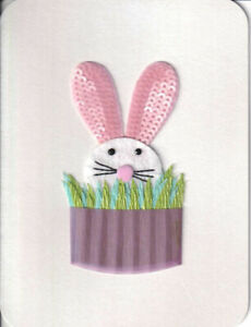 CUTE Papyrus Easter Card with Felt & Sequin Bunny Hiding in the 3D Bushes