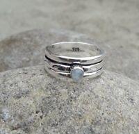 Rainbow Moonstone Solid 925 Sterling Silver Meditation Ring Spinner Ring sr602