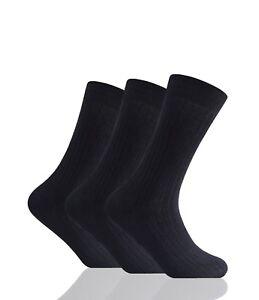 12 Pairs Men's 100% Pure Cotton Socks Comfort Soft Grip Black Colour  6-11