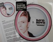 """DAVID BOWIE 7"""" Heroes PICTURE DISC 40th Anniversary single / Live + Promo Sheet"""
