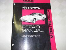1992 TOYOTA SUPRA Shop Service Repair Manual SUPPLEMENT FACTORY BOOK 92