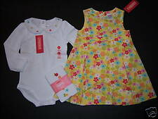 NWT Gymboree Spring Rainbow 2T Yellow Flower Jumper Dress Bodysuit & Tights