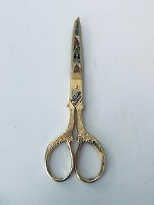 """Vintage Toledo Spain Gold Tone Multicolored Etched 6"""" Sewing Scissors"""
