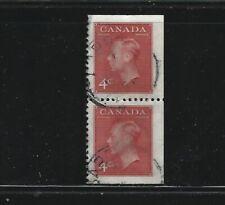 Canada 1949 George VI straight edge PAIR #287bs Fine