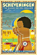Scheveningen The Hague on Sea Holland Travel Art Poster Print