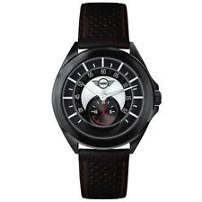 Herrenuhr Stahl mit Leder Uhrenarmband Schwarz Mini Cooper BMW Swiss Made