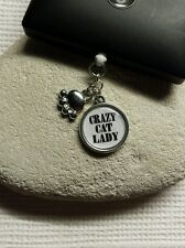 Crazy Cat Lady Dangle Charm For Mobile Phone. Tablet. Ipad. Iphone. Dust Plug.