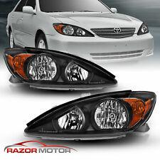 For 2002 2004 Toyota Camry Sedan Factory Style Crystal Black Headlights Pair