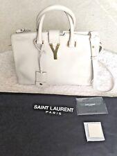 Authentic Yves Saint Laurent White Y-Ligne Cabas Mini Calfskin Leather Handbag