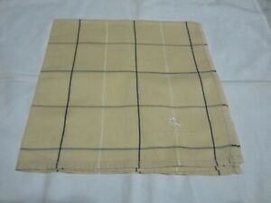 "USED IVORY PLAID PATTERN COTTON 18"" POCKET SQUARE HANDKERCHIEF HANKY FOR MEN #2"