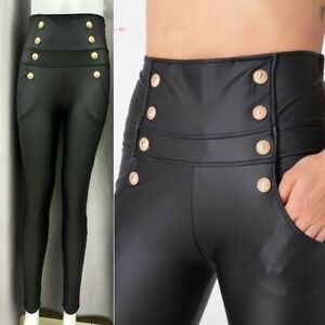 Women's Ladies Gold button Pocket PU Wet Look Slim Fit Legging Pant Trouser
