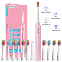 Fairywill Sonic Toothbrush Rechargeable 12X Brush Heads Cleaning for Family Use
