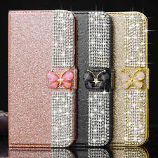 For iPhone X 8 7 6 5 Case Bling Glitter Crystal Leather Wallet Magnetic Cover