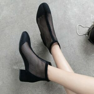Women's Gothic Mesh Low Heel Ankle Boots Summer Shoes Pumps Zipper Round Toe