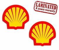 2 PVC Aufkleber Shell Logo Sponsor Oil Öl Gas Race Auto Moto Helm Vinyl Sticker