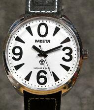 "Mechanical wach Raketa ""Big Zero"" 39mm new old stock White Rare Mechanism 21 JEW"