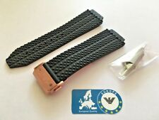 Watch Strap for Hublot Big Bang 44mm 25mm Rubber Black with Rose Gold Buckle HB4