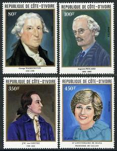 Ivory Coast 624-627,MI 719-722,MNH.Anniversaries:G.Washington,Goethe,Diana,1982