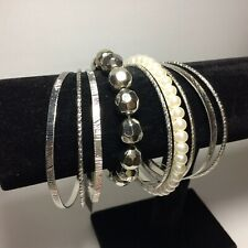 Pearlised Mostly Metal Plus One Stretch Bracelets Bangles x 9 Bundle Silvertone