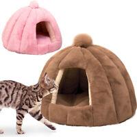 Lit Maison pour chien chat peluche Couchage douillet niche chaud Nid Panier M L