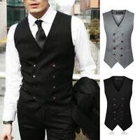 Men Double Breast Bridegroom Vest Waistcoat Wedding Formal Party Coat size M-5XL
