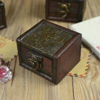 Small Wooden Lock Jewelry Holder Necklace Bracelet Storage Gift Vintage Box