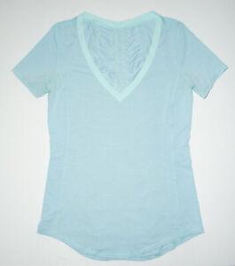 LULULEMON Athletic Shirt RUNNER UP Gathered Ruched s/s SKY BLUE Yoga Run Sz 6