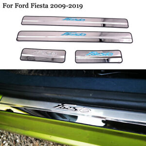 Stainless Door Sill Kick Scuff Plate Protector Trim Fits Ford Fiesta MK7 09-2019