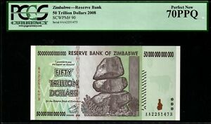 "2008 Zimbabwe 50 Trillion Dollars PCGS 70 Perfect New PPQ ""Finest Known"" Rare"