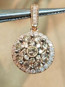 10K Rose Gold Champagne & White Diamonds Pendant