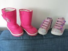 2 x Size 7 Girls Boots Pink Jojo Mama Bebe Snow + Skechers Twinkle Toes Boots
