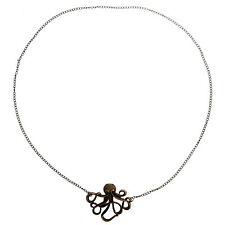 Vintage Retro Bronze Style Octopus Pendant Long Chain Sweater Necklace wome O8H1