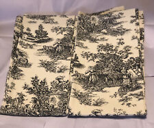 Two Panels Waverly Toile Cream/Black Drapery Garden Room Cutters Crafts 100% Ctn