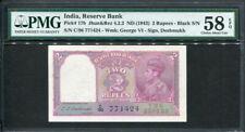 India 1943, 2 Rupees, KGVI Deshmukh Signature, P17, PMG 58 EPQ Origianl AUNC