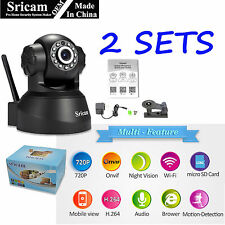 2 Pack Sricam 3MP 720P Wireless IP Camera WiFi Security Night Vision Cam USA GOA