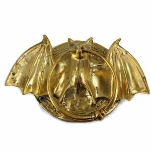"""Door Knocker BAT ring old front SOLID BRASS vintage old style polished 7"""" B"""