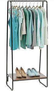 IRIS USA Modern Metal Clothing Rack with Wood Shelf