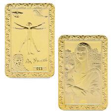 Da Vinci Mona Lisa Golden Commemorative Coins Collection Souvenir Art Bar
