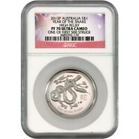 2013 P Australia Silver High Relief Snake NGC PF70 UC (1 of First 500 Struck)
